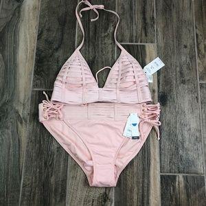 TIME and TRU Bikini Size M (8-10) Strappy NWT Pink